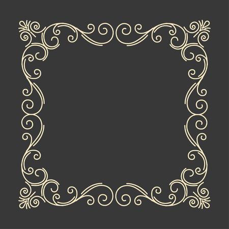 Illustration pour Flourish calligraphic frame. Ornate antique page divider. Vintage swirly pattern. Save the date card design. Vector illustration. - image libre de droit