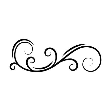 Illustration pour Calligraphic decorative swirl. Flourish scroll, floral wave. PAge divider, filigree border. Book decor. Greeting card, Wedding invitation design. Vector illustration. - image libre de droit
