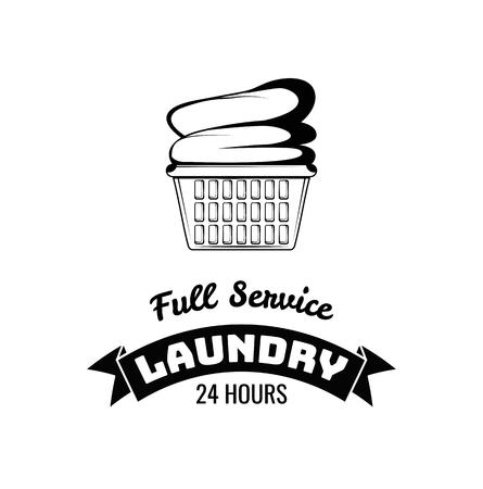 Ilustración de Laundry basket icon. Laundry label. Full service inscription. Vector illustration. - Imagen libre de derechos