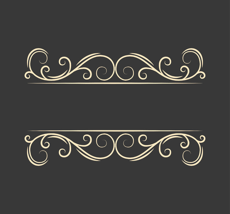 Illustration pour Pecorative filigree ornamental page divider. Swirls, curls. Vintage boder. Calligraphic design elements. Greeting card. Wedding invitation. Vector illustration. - image libre de droit