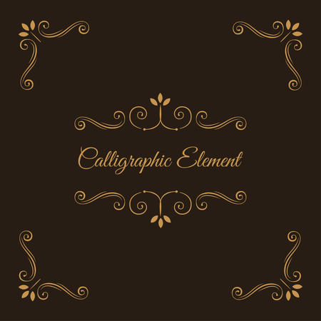 Illustration pour Calligraphic elements. Decorative corners. Ornate frame. Filigree swirls, curls, scroll flourish elements. Wedding invitation, Book decor, Save the date card. Vector illustration. - image libre de droit