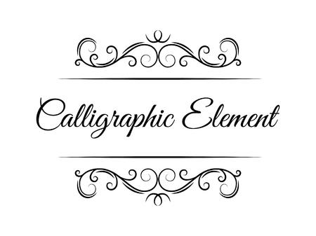 Illustration pour Swirling calligraphic elements. Page decorative devider, border. Ornate frame, filigree floral pattern. Wedding invitation, Greeting card design elements. Vector illustration. - image libre de droit