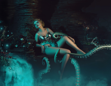 Photo for beautiful slim girl in the arms of an octopus, tentacles wrap around the body, fantastic shot, toning fashionable, creative colors - Royalty Free Image
