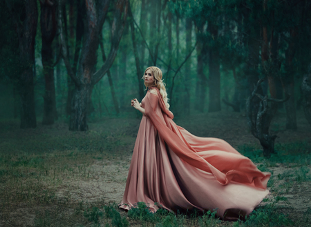 Photo for A mysterious blonde girl in a long pink dress with a train and a raincoat that flutters in the wind. The wizard leaves in a forest covered with fog. A background of trees with a haze away. Art photo - Royalty Free Image