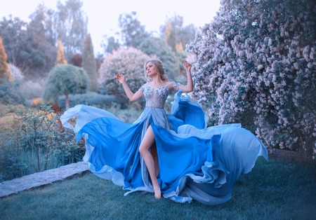 Photo for Blonde, with a beautiful elegant hairdo, walks in a fabulous blooming garden. Princess in a long gray-blue dress with a long train that flutters in the wind, revealing beautiful, slender legs - Royalty Free Image
