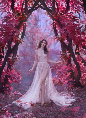 Photo for mysterious attractive lady in a long light luxury dress in a magical pink forest, gate to the fairy-tale world, cute witch owl sits on the shoulder of dark-haired princess, elf girl with bare leg - Royalty Free Image
