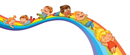 Illustration for Children ride on a rainbow  Vector illustration  Isolated on white background - Royalty Free Image