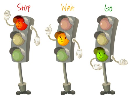Illustration pour Traffic light. Follow the rules of the road. Rules for pedestrians. Vector illustration. Isolated on white background - image libre de droit
