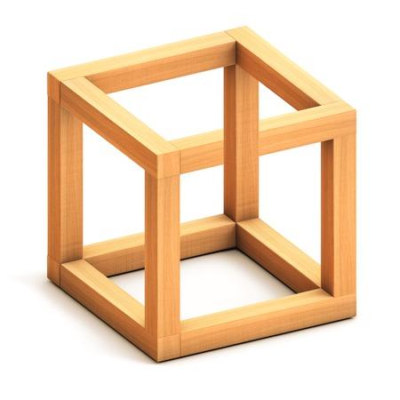 Foto de Impossible cube. Optical illusion. Impossible geometrical figure - Imagen libre de derechos