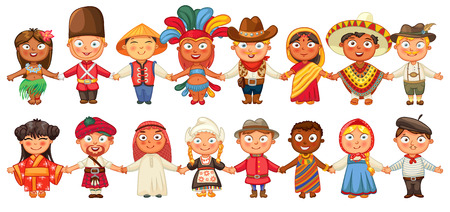 Illustrazione per Different culture standing together holding hands. - Immagini Royalty Free