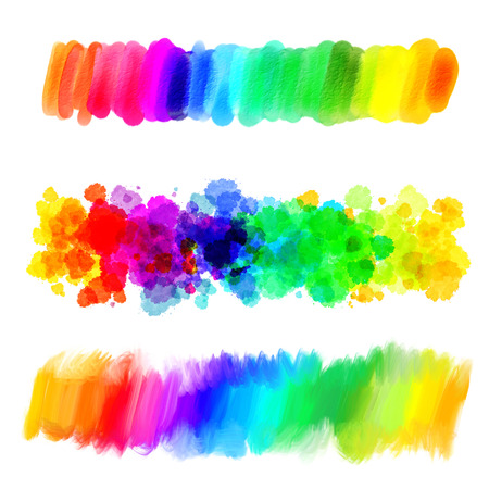 Foto de Rainbow gradient. Abstract oil painting. Blank colorful blot. Blurred spot. Blob. Freehand drawing. Conceptual illustration. Isolated on white background - Imagen libre de derechos