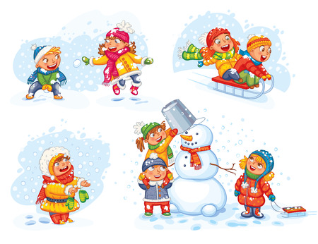 Ilustración de Playing outdoor. Children sledding. Boy and girl playing in snowballs. Schoolchildren making the snowman. Girl trying to catch snowflakes with her tongue. Funny cartoon character. Vector illustration. - Imagen libre de derechos