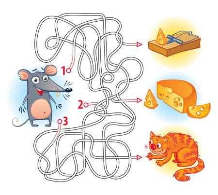 Illustration pour Help the mouse to find the right way in the maze and get the cheese. Maze Game with Solution. Riddles with tangled lines. Funny cartoon character. Vector illustration. Isolated on white background - image libre de droit