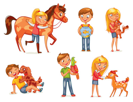 Ilustración de Caring for animals. Dog licking boy's face. Girl hugging a kitten. Girl fawn feeding bottle of milk. Jockey patting a horse. Funny cartoon character. Vector illustration. Isolated on white background - Imagen libre de derechos