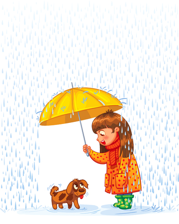 Ilustración de The girl under an umbrella with a small homeless puppy. Protect pet from autumn rain. Funny cartoon character. Vector illustration. Isolated on white background - Imagen libre de derechos