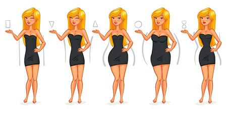 Illustration pour 5 types of female figures. Triangle, inverted triangle, rectangle, rounded, hourglass. Funny cartoon character. Vector illustration. Isolated on white background - image libre de droit