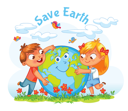 Illustration pour Save Earth. April 22 - Earth Day. Boy and girl hugging the Globe. Funny cartoon character. Vector illustration. Isolated on white background - image libre de droit