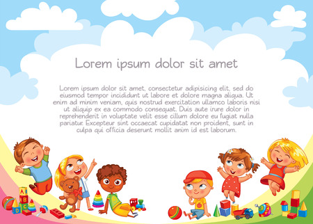 Illustration for Playground. Template for advertising brochure. Ready for your message. Children look up with interest. Kid pointing at a blank template. Lorem ipsum. Funny cartoon character. Vector illustration - Royalty Free Image