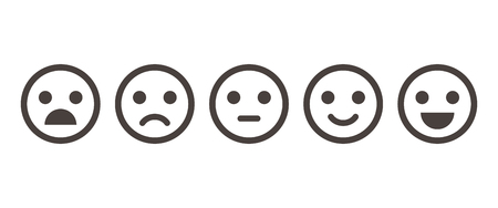 Ilustración de Iconic illustration of satisfaction level. Range to assess the emotions of your content. Feedback in form of emotions. User experience. Customer feedback. Excellent, good, normal, bad, awful. - Imagen libre de derechos