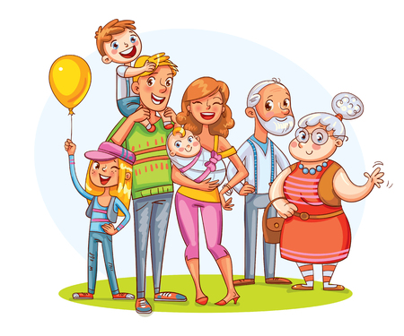Illustration pour My big family together. Family portrait (father, mother, daughter, son, grandparents). - image libre de droit