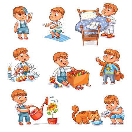 Illustrazione per Daily routine. Child is combing his hair. Boy washes dishes. Kid is putting his toys in a box. Child makes bed. Kid himself clothes. Boy doing fitness exercise. Baby feeds a pet. - Immagini Royalty Free