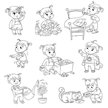Illustration pour Daily routine. Child is combing his hair. Girl washes dishes. Kid is putting his toys in a box. Child making bed. Girl himself clothes. Girl doing fitness exercise. Baby feeding pet. - image libre de droit