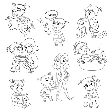 Illustration for Cartoon kid daily routine activities set. Girl goes for a walk with mom. Kid with Speech say thank you. Child takes a bath. - Royalty Free Image
