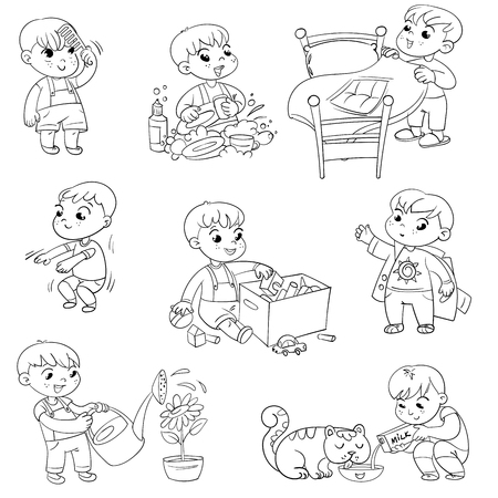 Illustration pour Daily routine. Child is combing his hair. Boy washes dishes. Kid is putting his toys in a box. Child making bed. Kid himself clothes. Boy doing fitness exercise. Baby feeding a pet. - image libre de droit