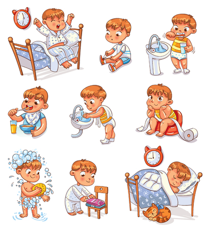 Ilustración de Daily routine activities. Baby sitting children's pot. Boy brushing his teeth. Kid neatly folds his clothes. - Imagen libre de derechos