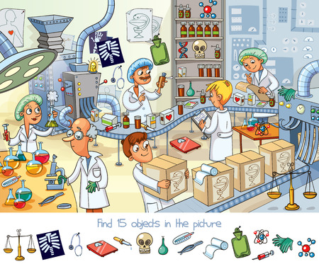 Illustration pour Find 15 objects in the picture with scientist design. - image libre de droit