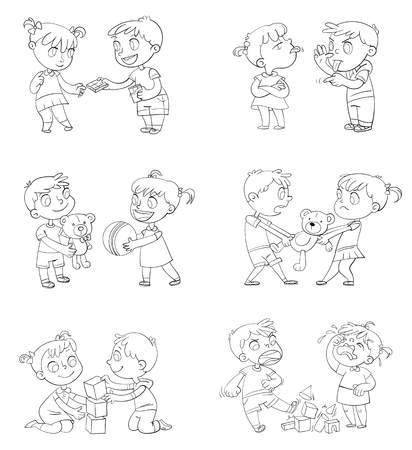 Illustrazione per Good and bad behavior of a child. Brother and sister fighting over a toys. Best friends forever. Funny cartoon character. Isolated on white background. Coloring book. Vector illustration. Set - Immagini Royalty Free