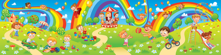Illustration pour Children playing in playground. Kids zone. Place for games. Funny cartoon characters. Children slide down on a rainbow. Amusement park rides. Vector illustration. Seamless panorama - image libre de droit
