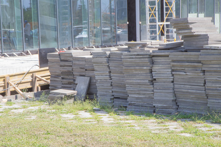 Photo pour Background of the construction site. Modern civil engineering. Construction of a new district - image libre de droit