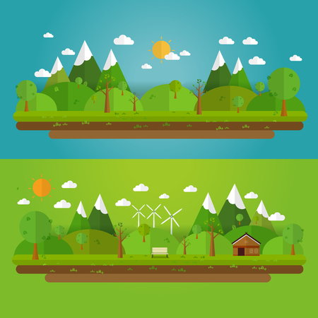 Ilustración de Natural landscape in the flat style. a beautiful park.Environmentally friendly natural landscape. - Imagen libre de derechos