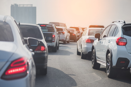 Foto de traffic jam on toll way with row of cars, rush hour, vintage style process - Imagen libre de derechos