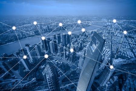 Foto de network and connection concept with cityscape as background, business concept, vintage style process - Imagen libre de derechos