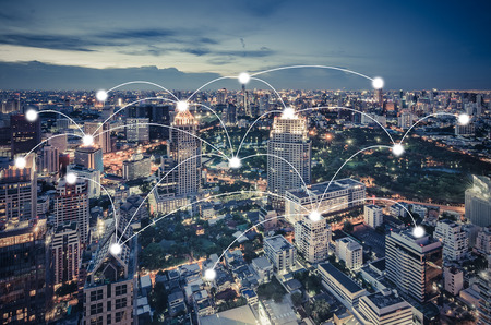 Photo for network and connection concept with cityscape as background, business concept, vintage style process - Royalty Free Image