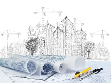 Foto de sketching of modern building construction and plan document  use for construction theme - Imagen libre de derechos