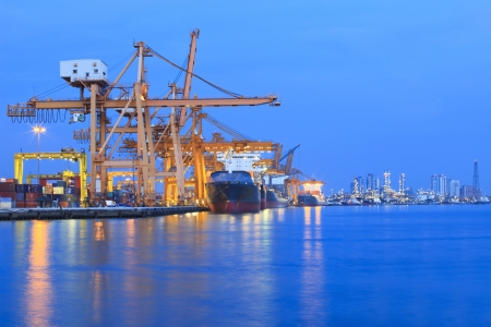 Photo for ship yard with heavy crane in beautiful twilight of day use for import export industry and international trading - Royalty Free Image
