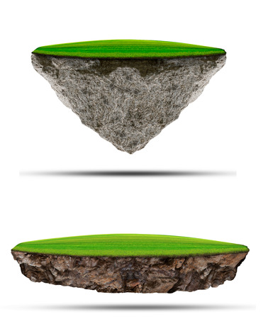 Photo pour two kind of floating green grass  field over rock island on white use for multipurpose nature and creative - image libre de droit
