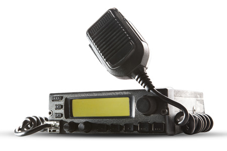 Photo for cb radio  transceiver station and loud speaker holding on air on white background use for ham connection and  amateur Radio Gear theme - Royalty Free Image
