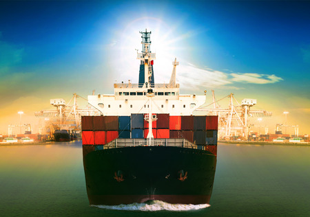 Photo for commercial vessel ship and port container dock behind use for freight water transport and logistic shipping business theme - Royalty Free Image