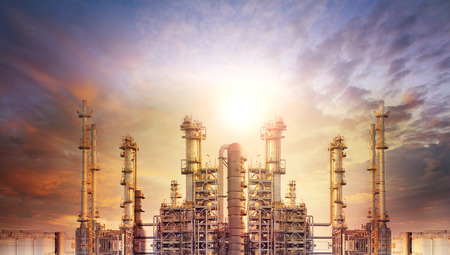 Photo for exterior tube of petrochemical plant and oil refinery for produce industrial matterial in heaviy petroleum industry estate against beautiful sun light sky - Royalty Free Image