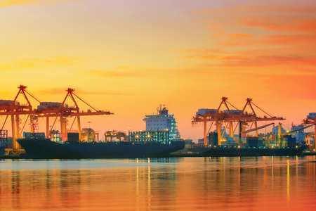Photo for beautiful twilight sky at shipping port use for vessel nautical import and export transport logistic industry - Royalty Free Image