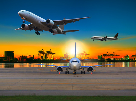 Photo for cargo plane flying over airport against beautiful morning light in ship yard use for transportation and logistic industry business - Royalty Free Image