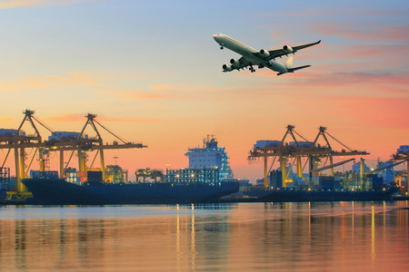 Photo pour cargo plane flying above ship port use for transportation and freight logistic industry business - image libre de droit