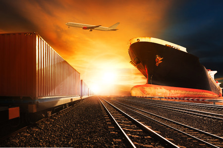 Foto de container trains ,commercial ship on port freight cargo plane flying above use for logistic and transportation industry background - Imagen libre de derechos