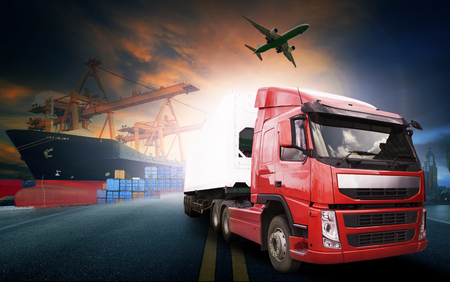 Foto per container truck ,ship in port and freight cargo plane in transport and import-export commercial logistic ,shipping business industry - Immagine Royalty Free
