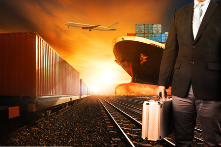 Foto de investor and container trains ,commercial ship on port freight cargo plane flying above use for logistic and transportation industry background - Imagen libre de derechos