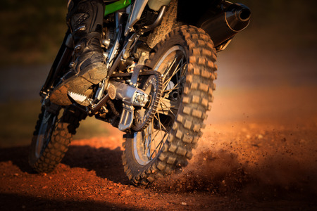 Photo for action of enduro motorcycle on dirt track - Royalty Free Image